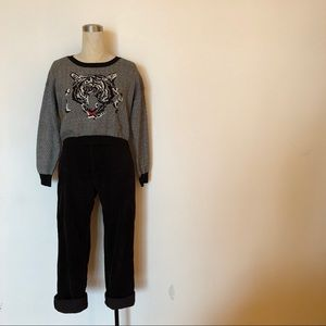 Buffalo - Black & White Tiger Sweater + Embroidery